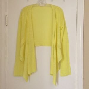 NWOT MM Couture bright yellow open front cardigan